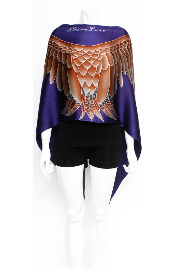 Wings and feathers women accessory fashion painted silk Scarf