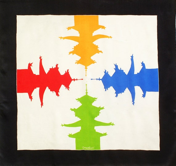 Batik hand made silk scarf with colorful Japanese Temple motif