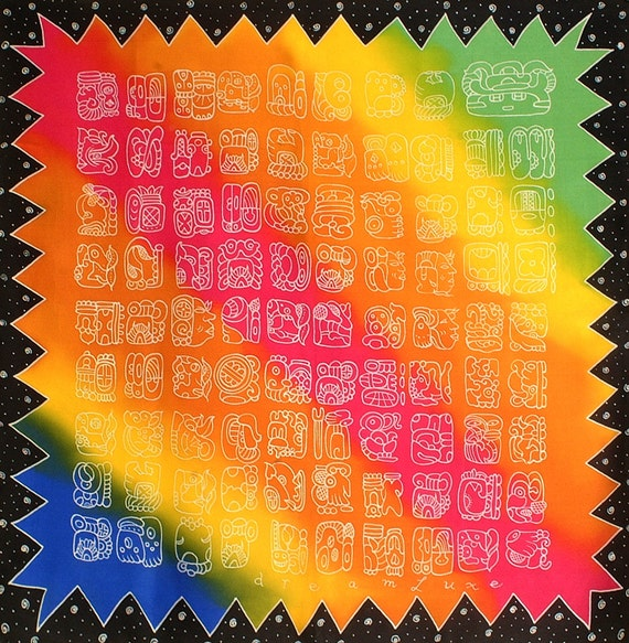 Colorful Mayan glyphs Square handmade silk scarf