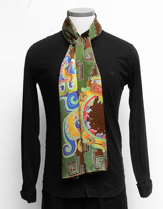 Mens Aztec serpent and Mayan Vision serpent Hand painted scarf