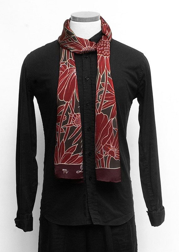 Hand painted silk scarf with burgundy flowers.