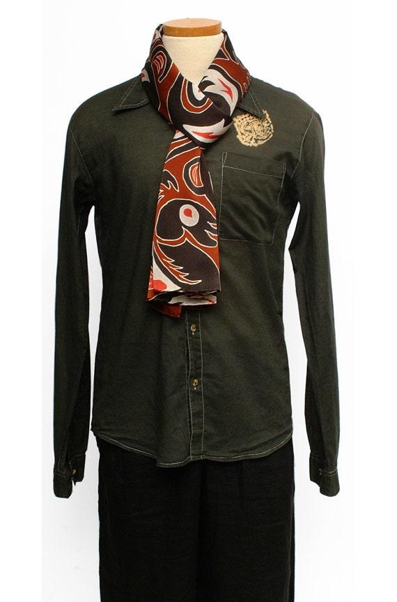 Haida tribe art mens Totem Pole fashion scarf handmade silk scarf