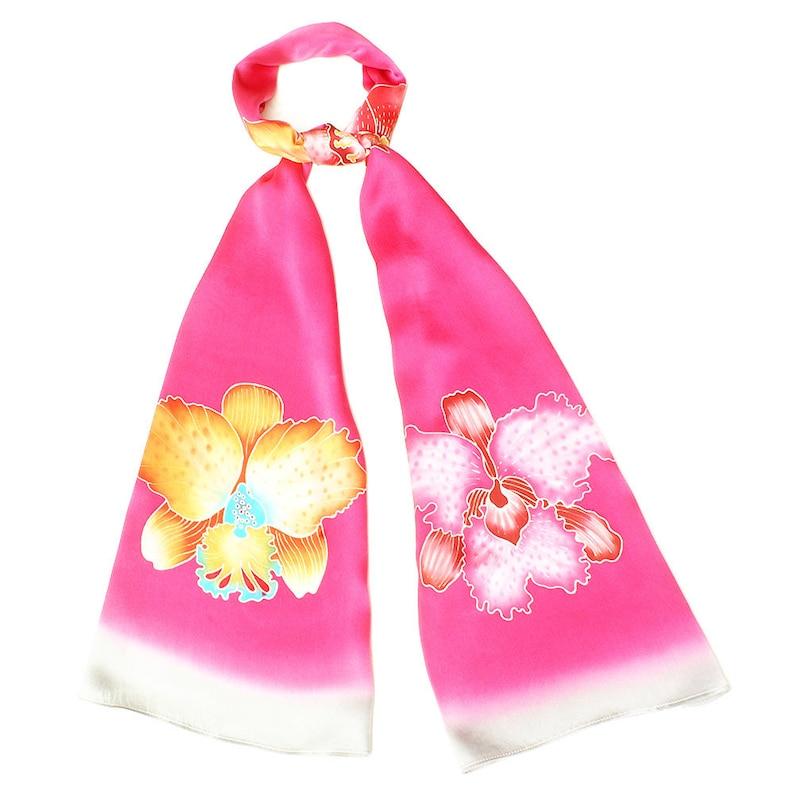 e787357f9cba6 Foulard en soie batik avec des fleurs dorchidées colorés avec | Etsy