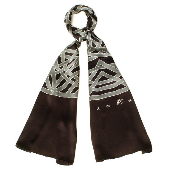 Mens mandala hand made silk scarf in gray with black background