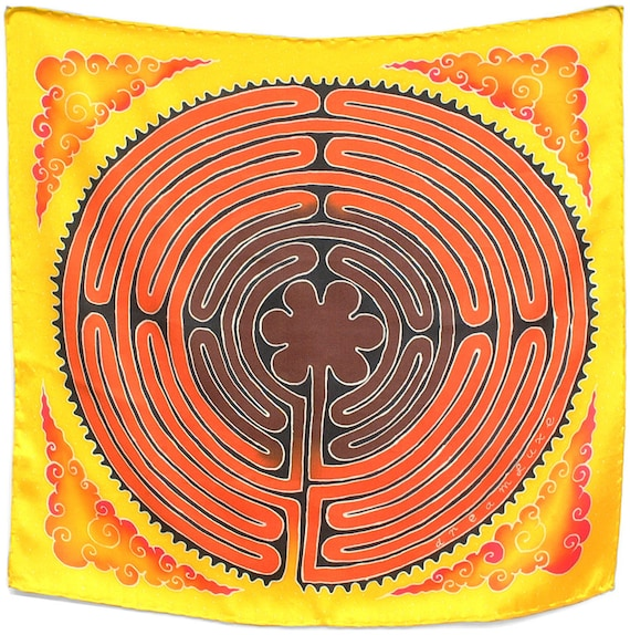 Labyrinth symbol batik luxury hand painted square scarf Square