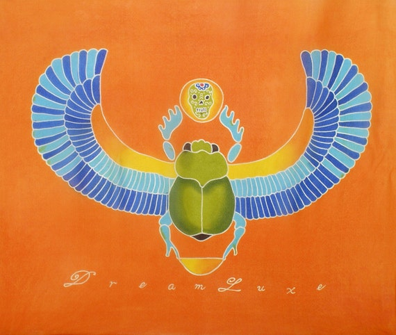 Egyptian Scarab with wings and skull batik hand painted scarf.