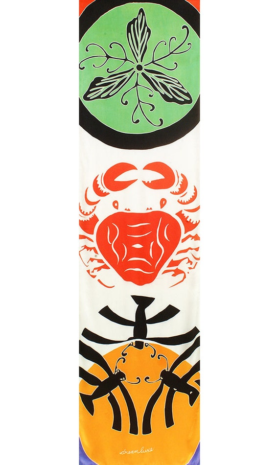Fashion handpainted silk scarf with colorful Japanese crests