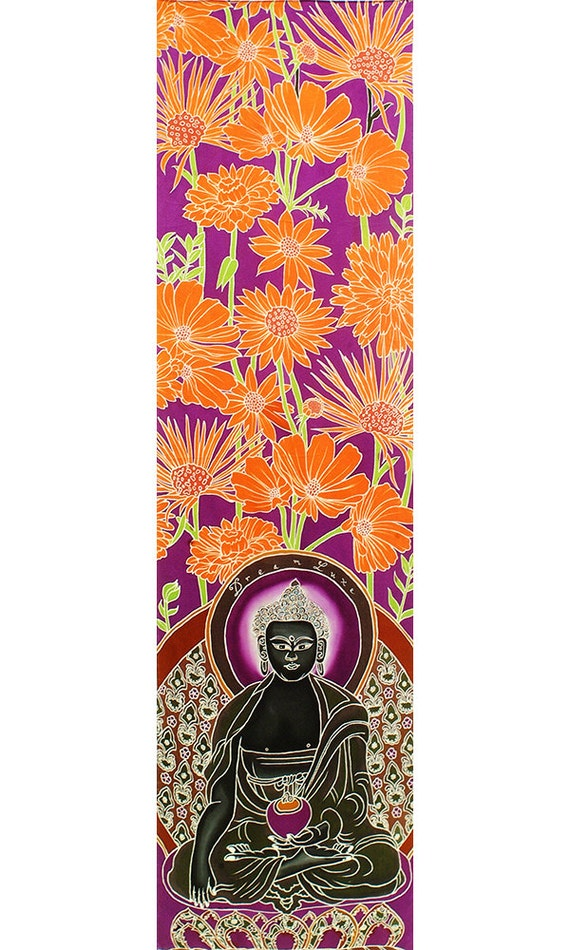 Buddha with large orange flowers hand painted silk scarf
