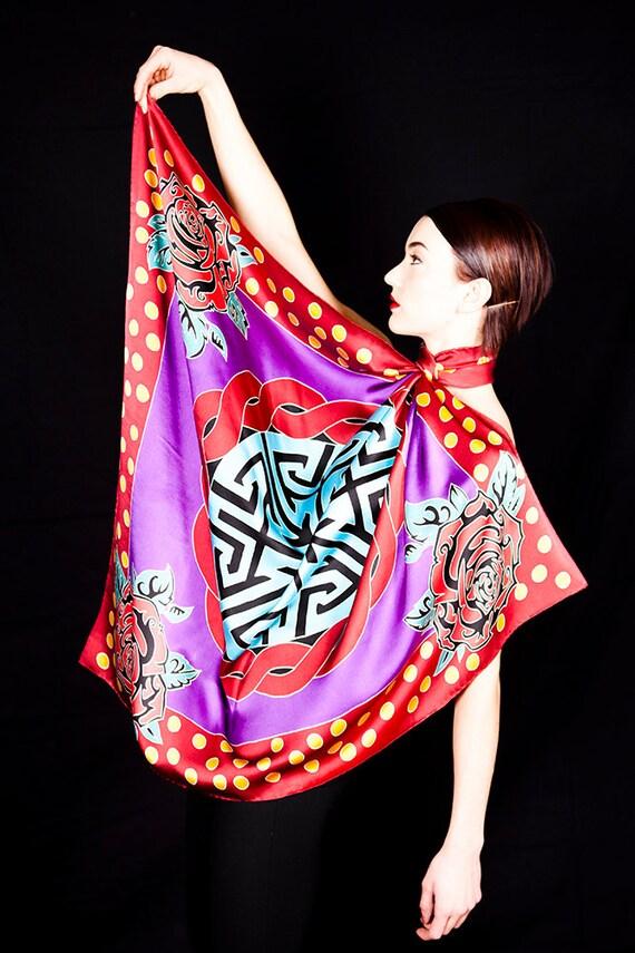 Batik silk scarf with colorful mandala, roses, and polka dots
