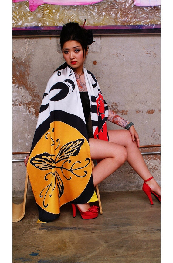 Hand painted silk scarf with Japanese Crest motifs