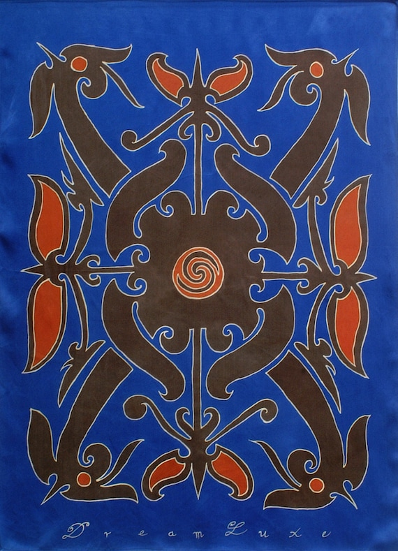 Mens Dayak tattoo tribal fashion silk scarf in blue black and red