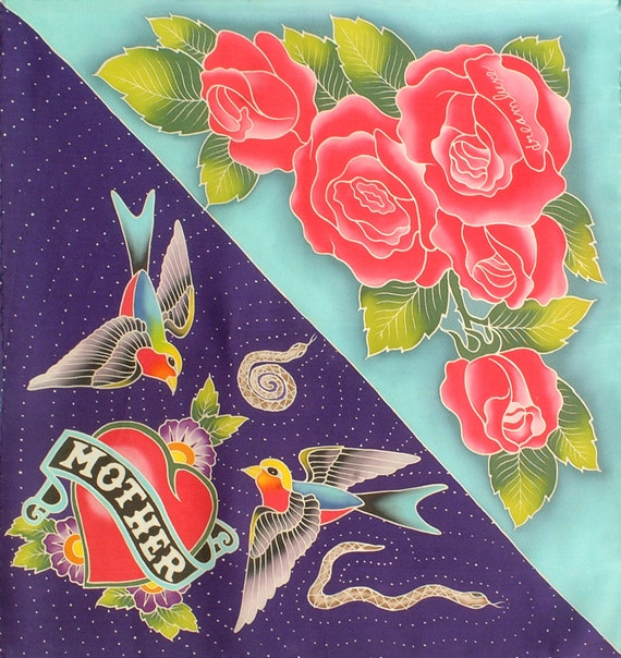 Roses silk scarf hand painted with mother tattoo heart and Birds