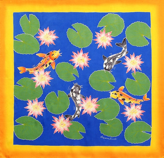 Koi fish, lotus flowers and leaves Unique hand made silk scarf