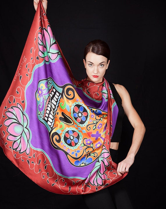Day of the dead skull hand painted silk scarf with Lotus flowers
