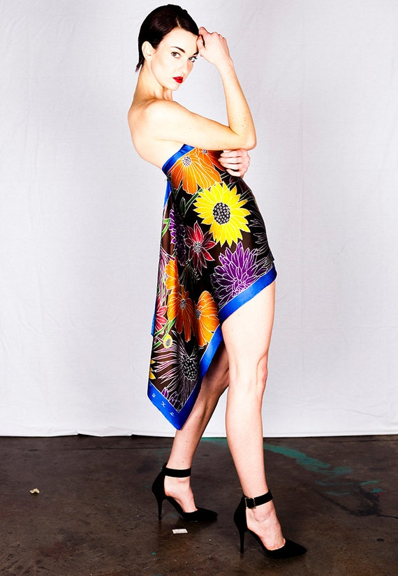 Hand painted silk fashion scarf with colorful flowers