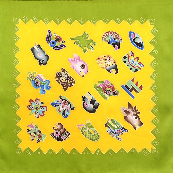 Aztec glyphs square scarf with yellow and lime green background