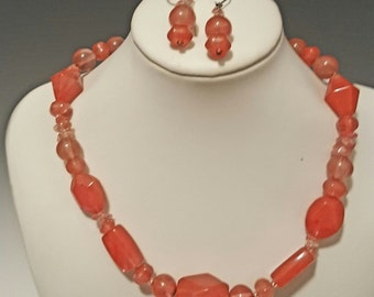 Cherry Quartz Necklace and Earrings