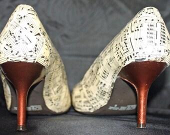 Decoupaged Vintage Sheet Music Women's Heels Size 8