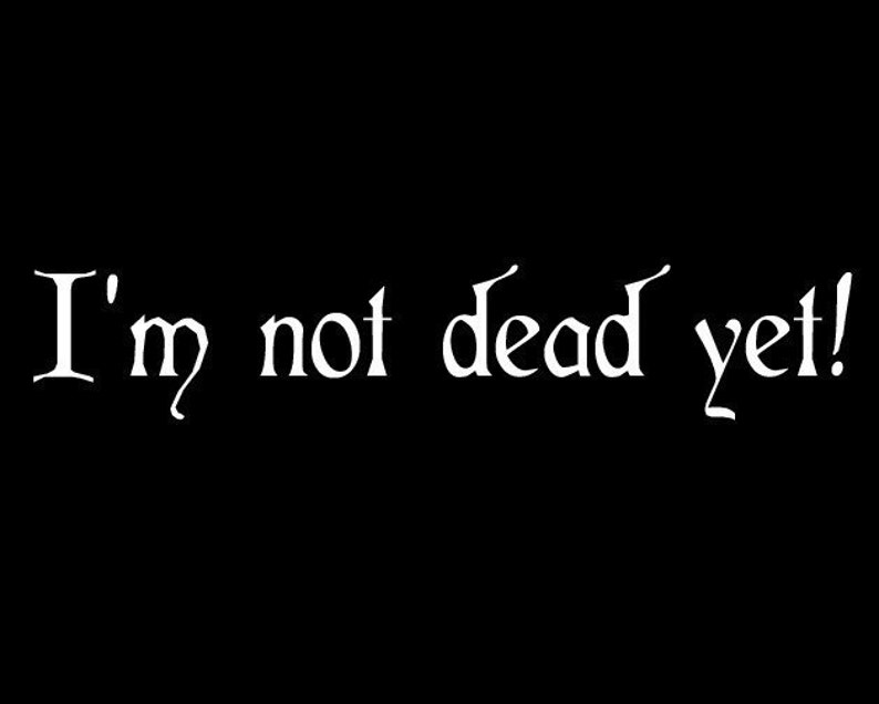 Im Not Dead Yet Monty Python Quote Vinyl Decal Etsy