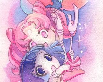 Chibiusa and Sailor Saturn Hotaru 8x24 Watercolor Poster Print