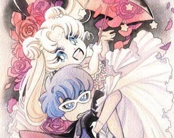 Sailor Moon and Tuxedo Mask Umbrella Wedding 8x24 Watercolor Poster Print