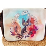 Jiji Messenger Bag, Cat Messenger Bag, Jiji from Kiki's Delivery Service Studio Ghibli Messenger Bag