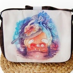 Calcifer Messenger Bag, Howl's Moving Castle Messenger Bag, Calcifer from Howl's Moving Castle May All Your Bacon Burn Messenger Bag