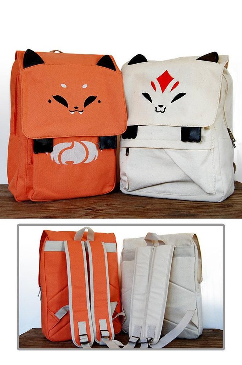 Fox Backpack Kitsune Backpack Orange Fox Backpack Back to image 0