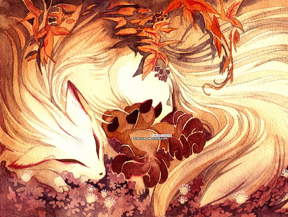 Ninetailed  Ninetails Fox Mom With Kitsune With Kits Art -7544