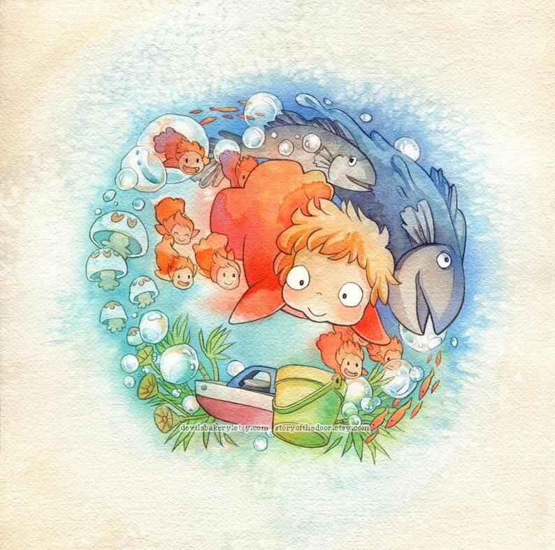 Studio Ghibli Ponyo Sea Sisters Print image 0