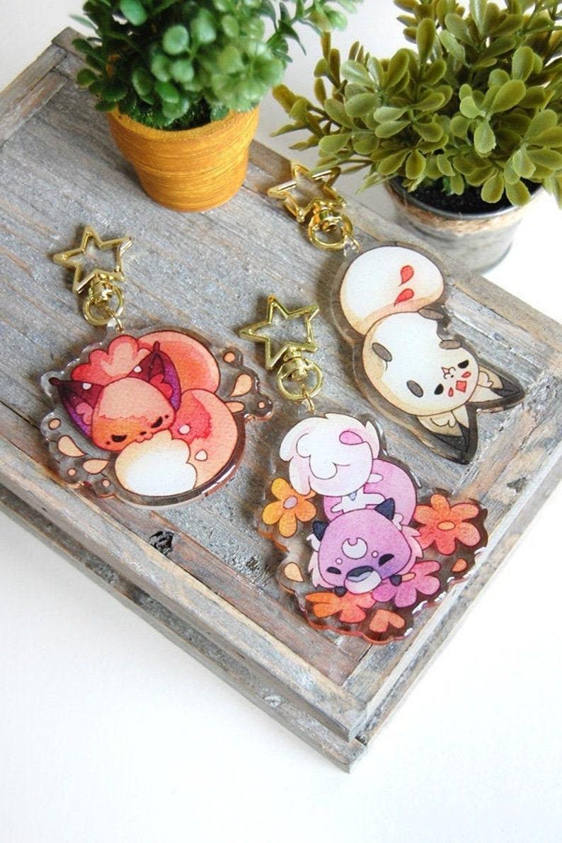 Floral Frolic Queenie Dawnsing Rawra Keychains Glitter Fox image 0
