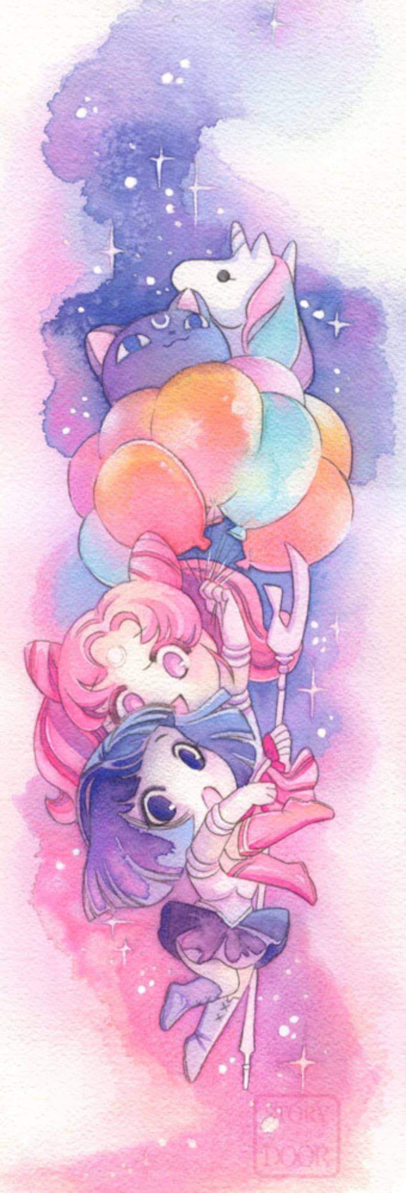 Sailor Moon Poster Chibiusa and Sailor Saturn Hotaru 8x24 image 0