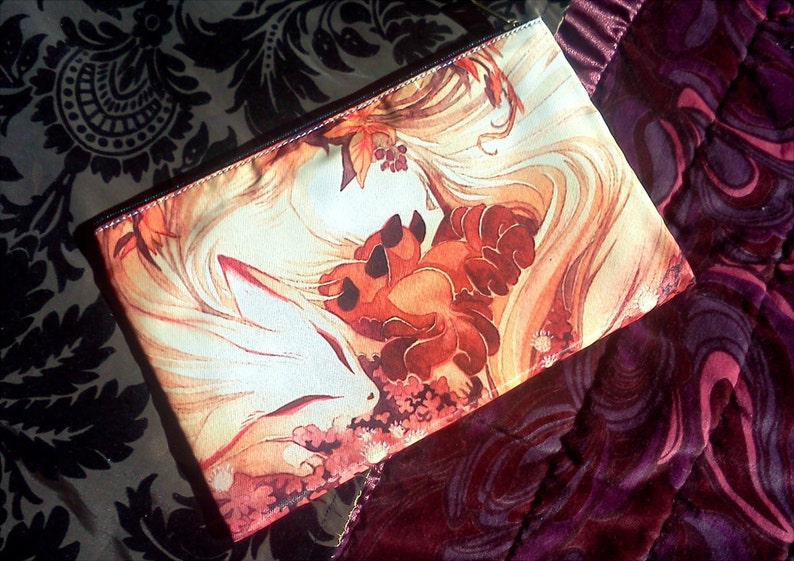 Kitsune Ninetails Fox and Kits Pencil Case Zipper Bag Purse image 0