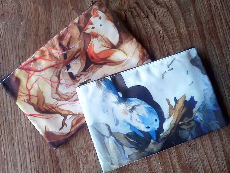 Summer & Winter Sister Fox Kitsune Zipper Bag One Bag the image 0
