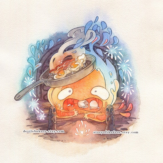 Howl's Moving Castle Calcifer Studio Ghibli 11 X 11 Print