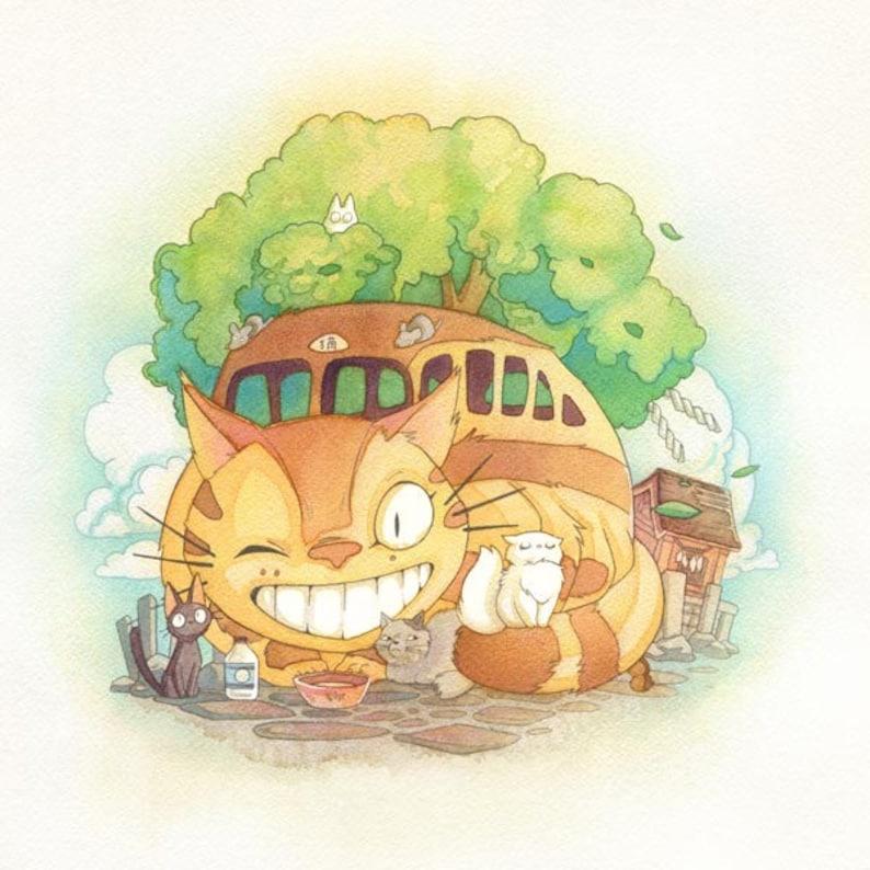 Catbus from Totoro Studio Ghibli Watercolor Print image 0