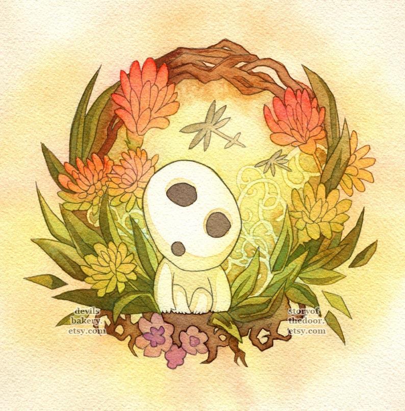 Princess Mononoke Kodama Forest Spirit Print image 0