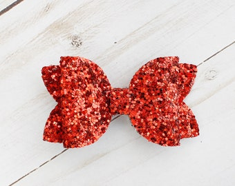 red Glitter Bow Toddler Bow Girls Bow, Holiday Bow Elf /& Reindeer 6\u201d Christmas Bow Glitter Bow Girls Fun Bow