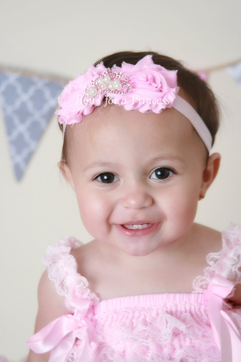 Princess Headband Headband Newborn Headband Pink Princess Crown Rhinestone Crown Pink Flower Baby Headband Baby Tiara Shabby Flower