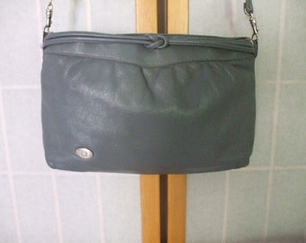b81f2c45fb843 Vintage Etienne Aigner Gray Leather Crossbody Handbag Sleek with Knotted  Band Trim Silver Accent Hardware Purse Original