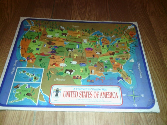 Vintage US Map Puzzle 1968 From Rainbow Works, United States Map Puzzle,  Puzzle Of The United States, Map Teaching Tool for Children