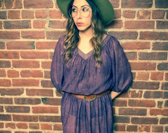 Vintage 60's Festival Purple Dress