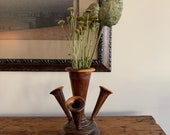 Victorian hand turned wood epergne - multi vessel vase- burl