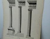 antique vintage 1909 architectural print, classic columns