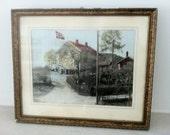 antique vintage framed print - Norwway- landscape