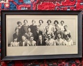 vintage framed high school group photo - 1920s - black and white