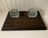 vintage antique 1910s primituve inkwell stand holder with 2 glass inkwells