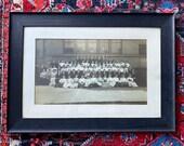 Vintage antique large framed 1908 group High School photo - black and white