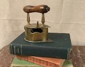 vintage brass sad iron - coal iron- vintage iron