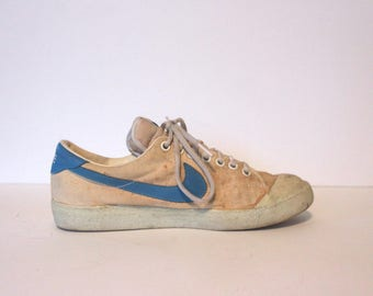 promo code eae70 1652c 1980s White + Blue Swoosh NIKE sneakers, size 8 - vintage collectible  tennis shoes, sport shoe, canvas, made in republic of Korea
